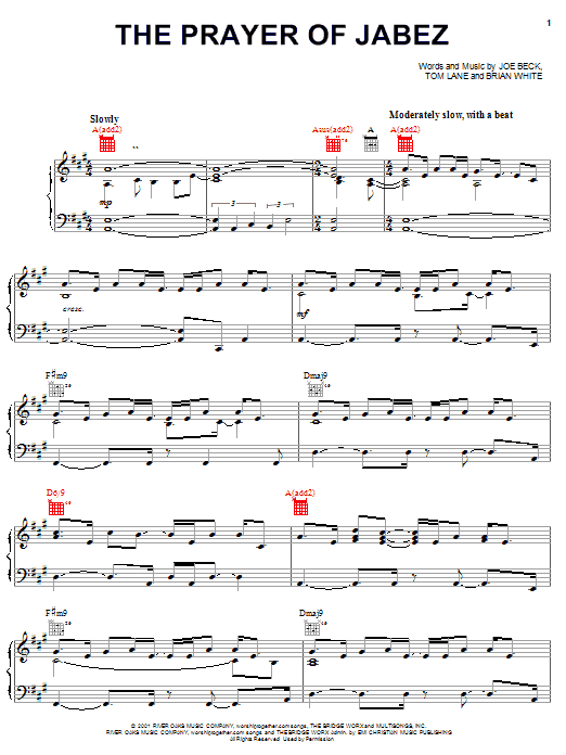 Partition piano The Prayer Of Jabez de Brian White - Piano Voix Guitare (Mélodie Main Droite)