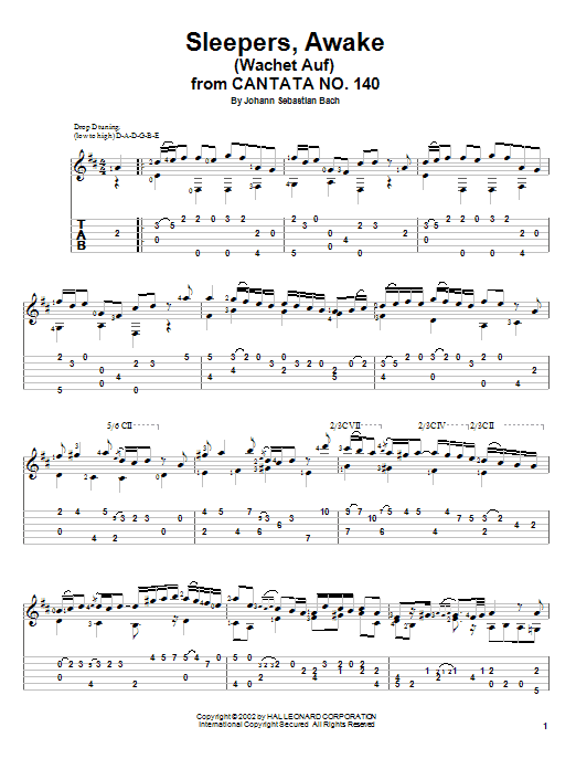 Tablature guitare Sleepers, Awake (Wachet Auf) de Johann Sebastian Bach - Tablature Guitare