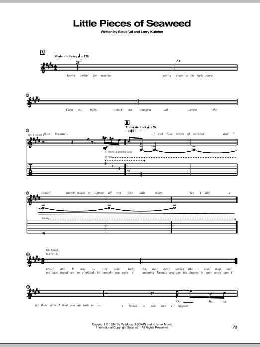 Tablature guitare Little Pieces Of Seaweed de Steve Vai - Tablature Guitare