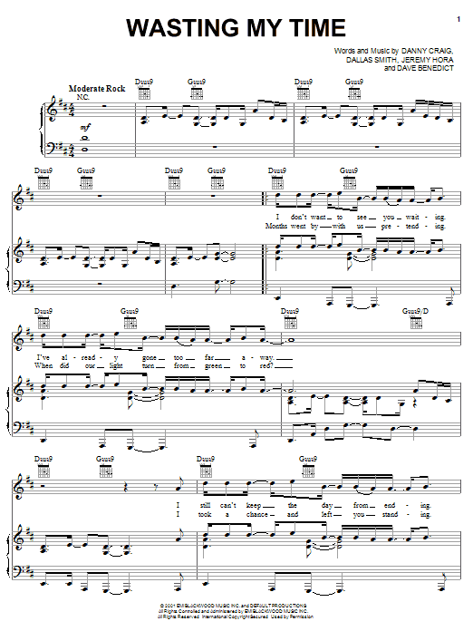 Wasting My Time sheet music for voice, piano or guitar by Dave Benedict
