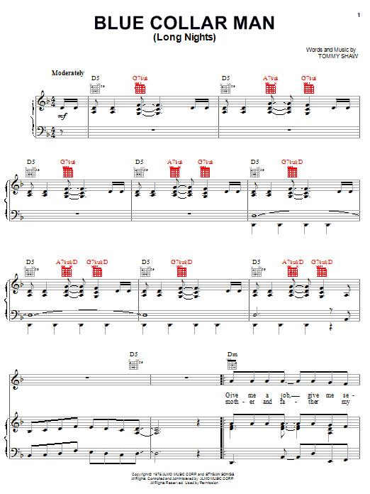 Partition piano Blue Collar Man (Long Nights) de Styx - Piano Voix Guitare (Mélodie Main Droite)
