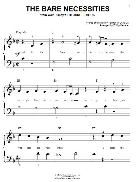 Partition piano The Bare Necessities (from Disney's The Jungle Book) de Terry Gilkyson - Piano Facile