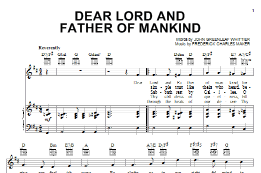 Partition piano Dear Lord And Father Of Mankind de Frederick Charles Maker - Piano Voix Guitare (Mélodie Main Droite)