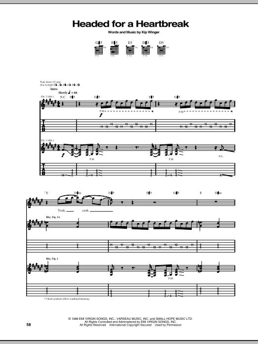 Tablature guitare Headed For A Heartbreak de Winger - Tablature Guitare