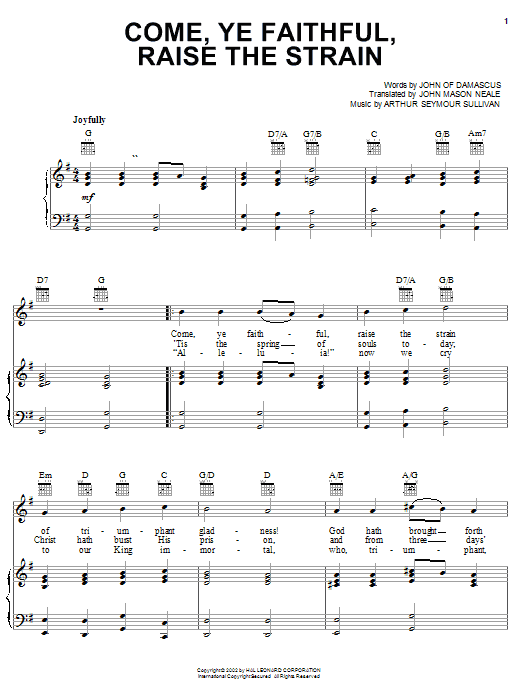 Partition piano Come, Ye Faithful, Raise The Strain de Arthur Seymour Sullivan - Piano Voix Guitare (Mélodie Main Droite)