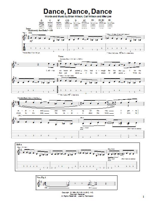 Tablature guitare Dance, Dance, Dance de The Beach Boys - Tablature Guitare