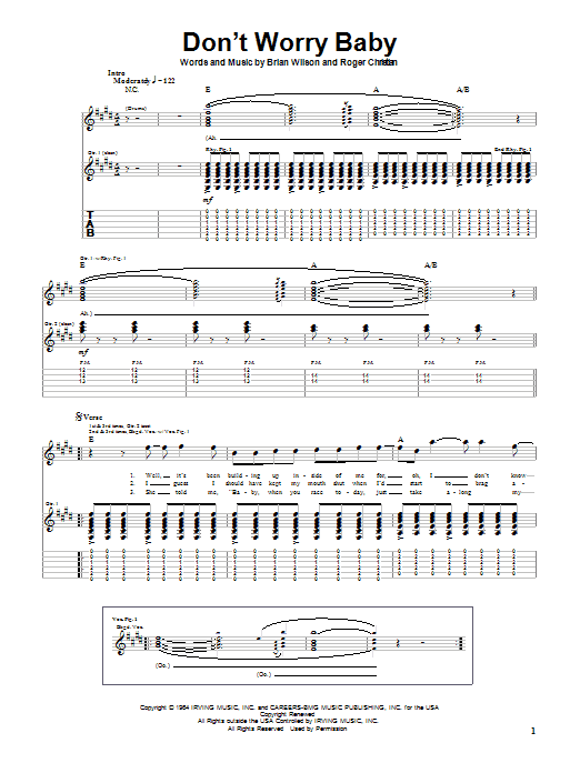 Tablature guitare Don't Worry Baby de The Beach Boys - Tablature Guitare