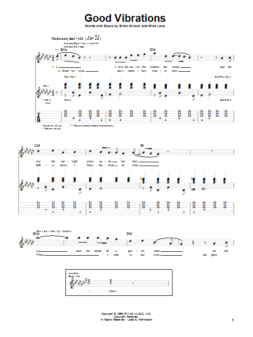 Tablature guitare Good Vibrations de The Beach Boys - Tablature Guitare
