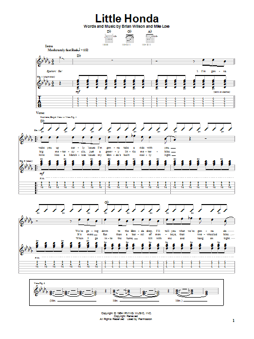 Tablature guitare Little Honda de The Beach Boys - Tablature Guitare