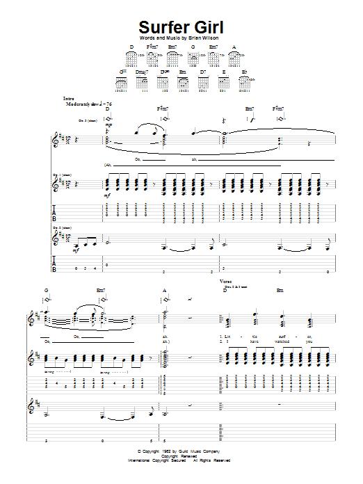 Tablature guitare Surfer Girl de The Beach Boys - Tablature Guitare