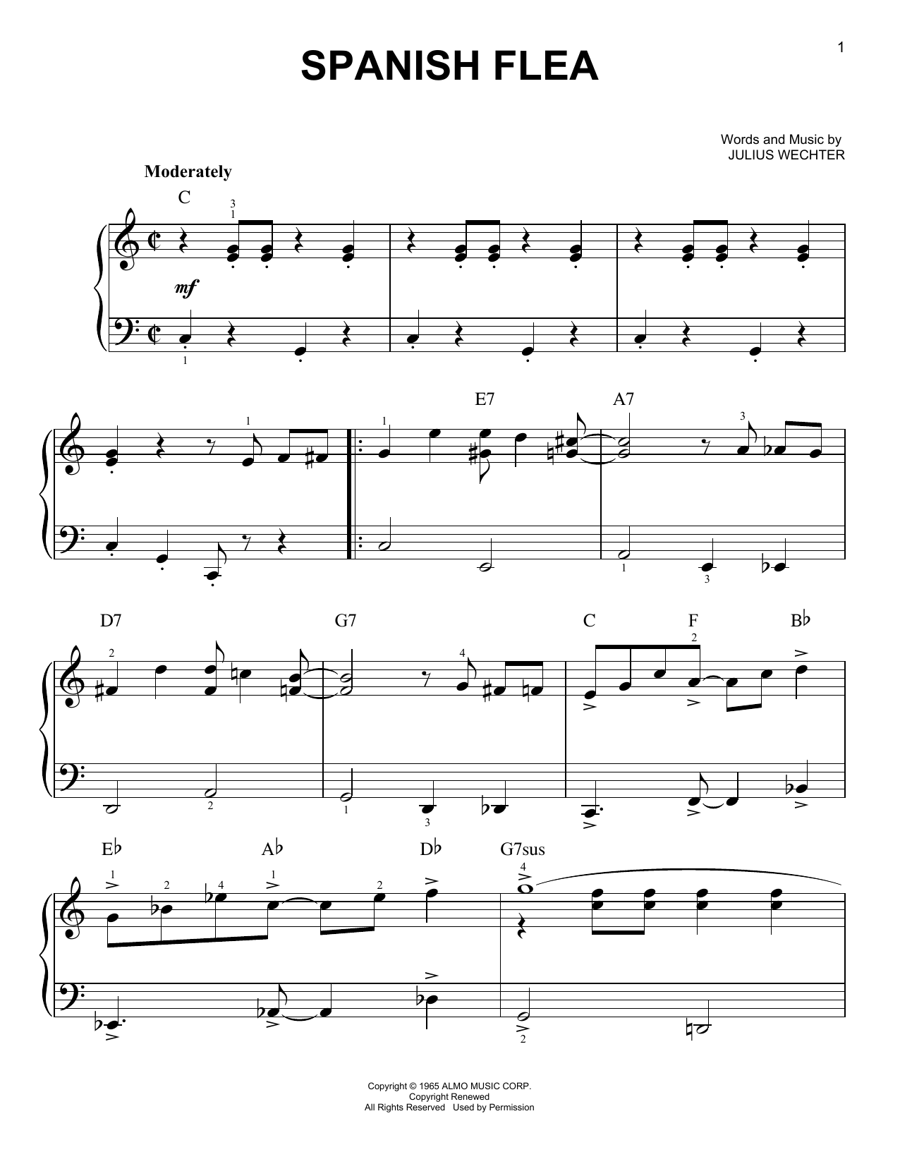 Spanish Flea sheet music for piano solo (chords) by Julius Wechter
