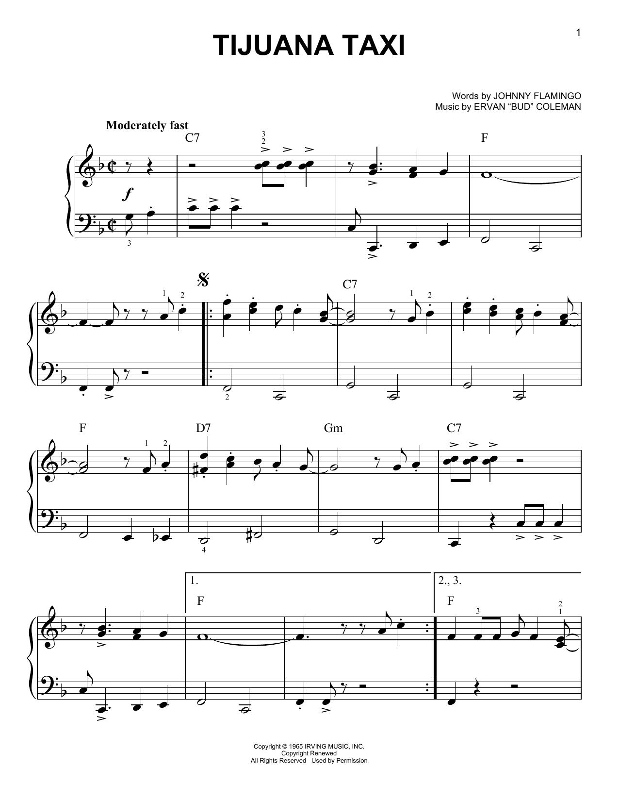 Partition piano Tijuana Taxi de Herb Alpert & The Tijuana Brass Band - Piano Facile