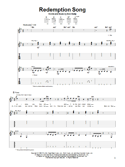 Redemption Song by Bob Marley - Guitar Tab - Guitar Instructor