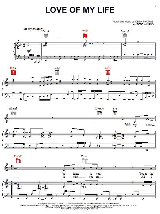 Partition piano Love Of My Life de BeBe Winans - Piano Voix Guitare (Mélodie Main Droite)