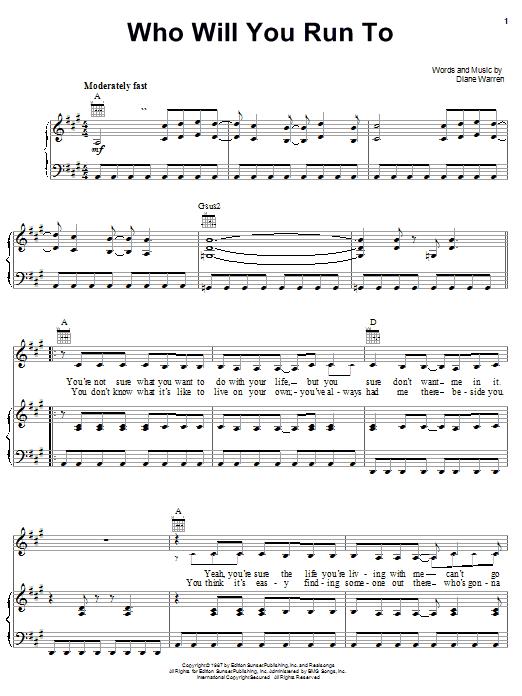 Partition piano Who Will You Run To de Diane Warren - Piano Voix Guitare (Mélodie Main Droite)
