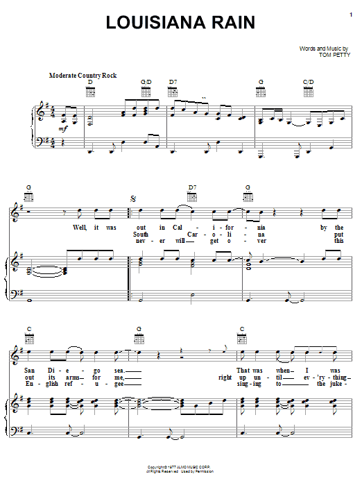 Partition piano Louisiana Rain de Tom Petty - Piano Voix Guitare (Mélodie Main Droite)
