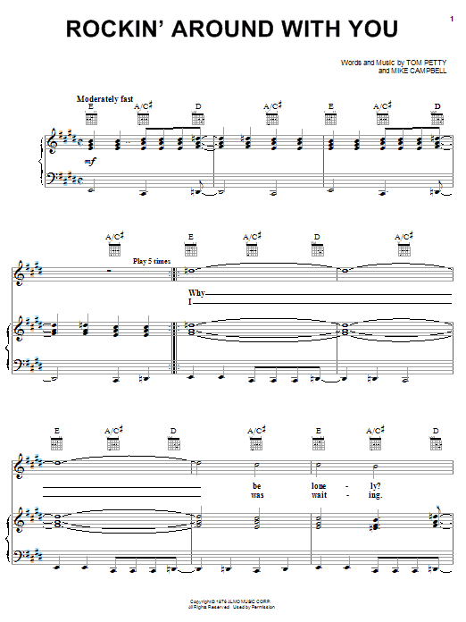 Partition piano Rockin' Around With You de Tom Petty - Piano Voix Guitare (Mélodie Main Droite)