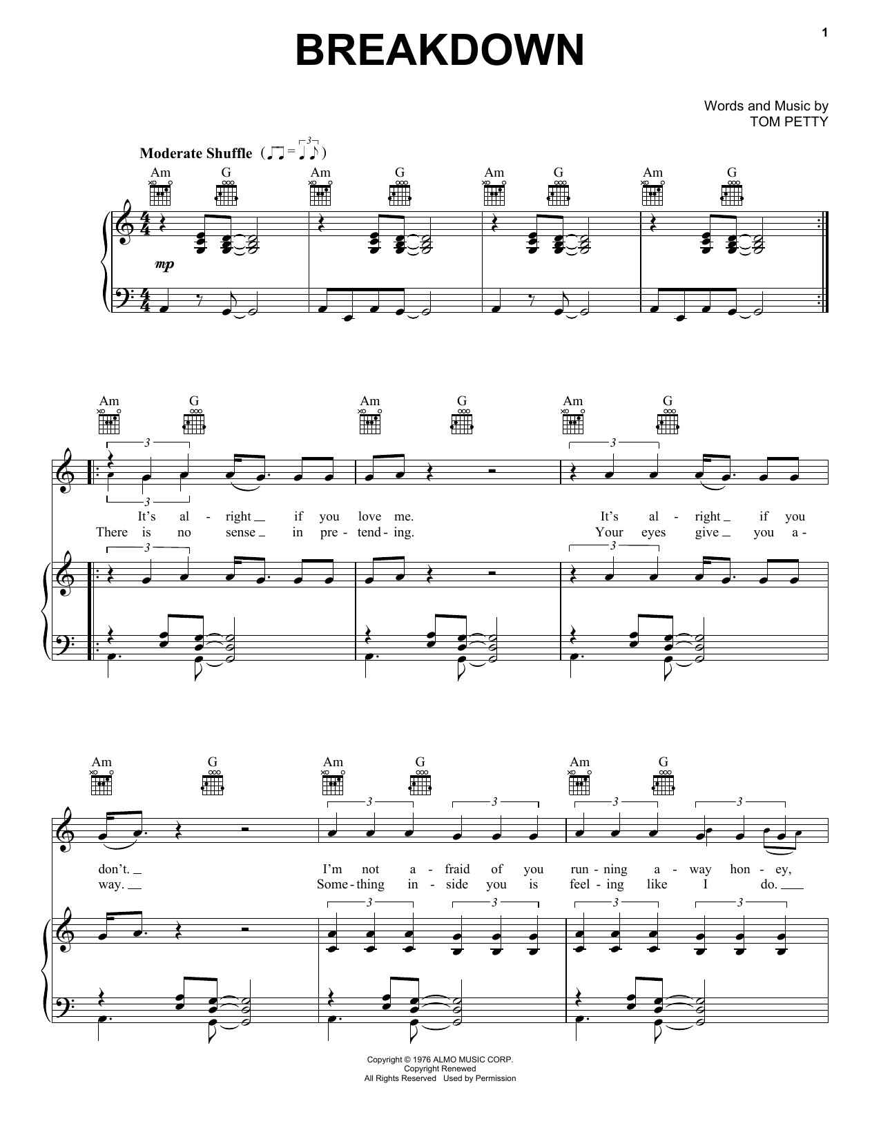 Breakdown sheet music for voice, piano or guitar by Tom Petty And The Heartbreakers