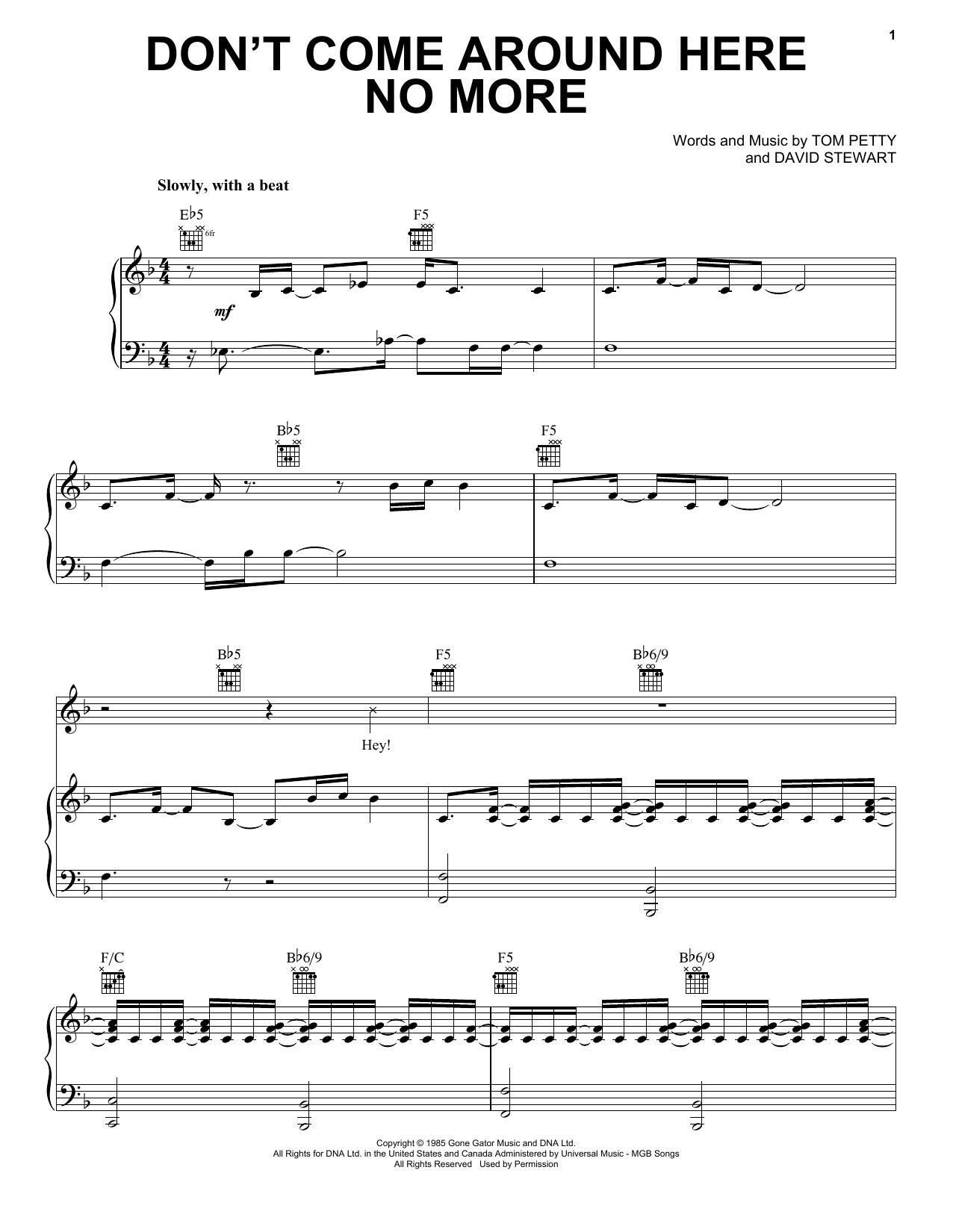 Partition piano Don't Come Around Here No More de Tom Petty - Piano Voix Guitare (Mélodie Main Droite)
