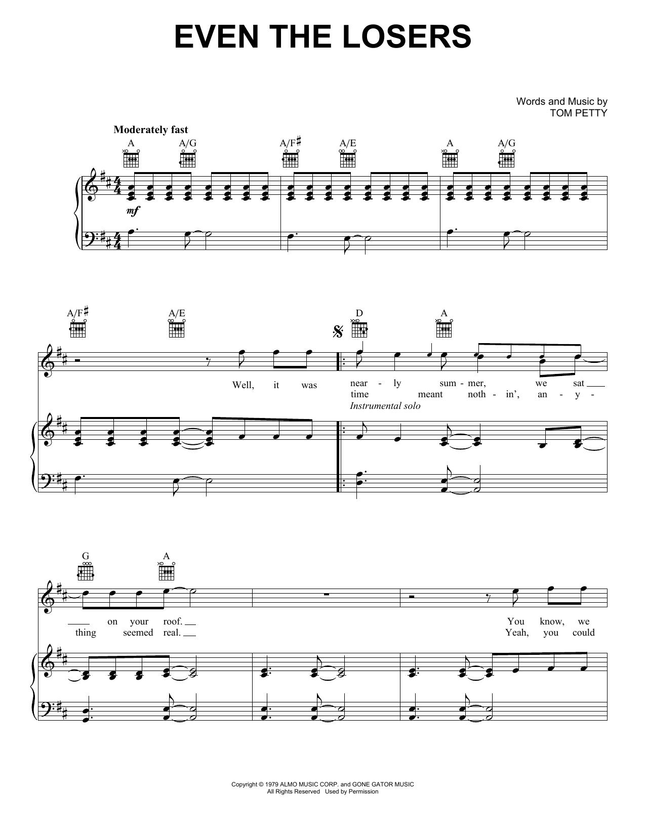 Partition piano Even The Losers de Tom Petty - Piano Voix Guitare (Mélodie Main Droite)