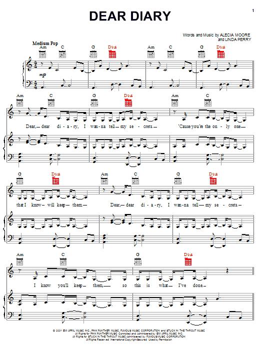 Partition piano Dear Diary de Pink - Piano Voix Guitare (Mélodie Main Droite)