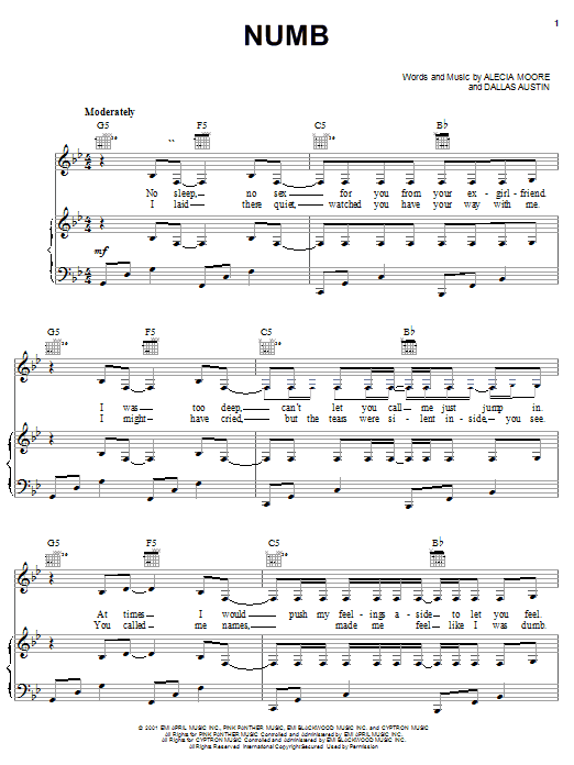Numb sheet music for voice, piano or guitar by Dallas Austin