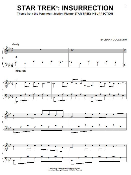 Partition piano Theme from Star Trek de Jerry Goldsmith - Piano Solo