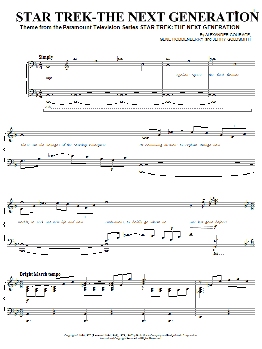 Partition piano Theme from Star Trek de Alexander Courage - Piano Solo