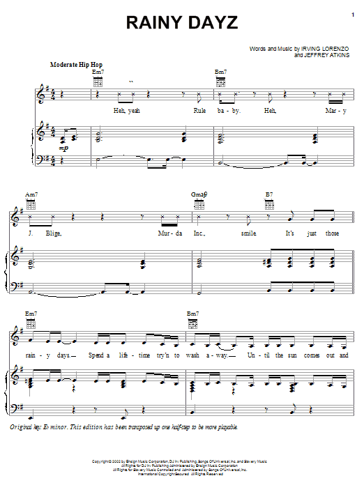 Rainy Dayz sheet music for voice, piano or guitar by Jeffrey Atkins