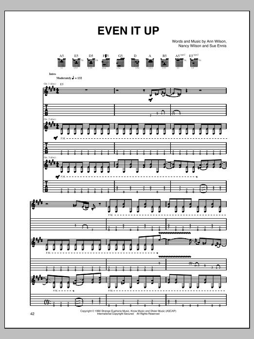 Tablature guitare Even It Up de Heart - Tablature Guitare