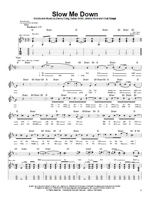 Tablature guitare Slow Me Down de Default - Tablature Guitare