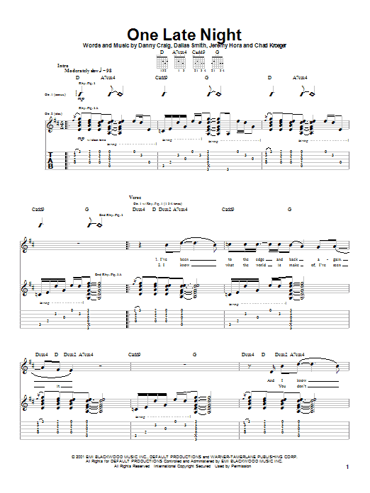 Tablature guitare One Late Night de Default - Tablature Guitare