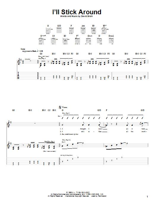 Tablature guitare I'll Stick Around de Foo Fighters - Tablature Guitare