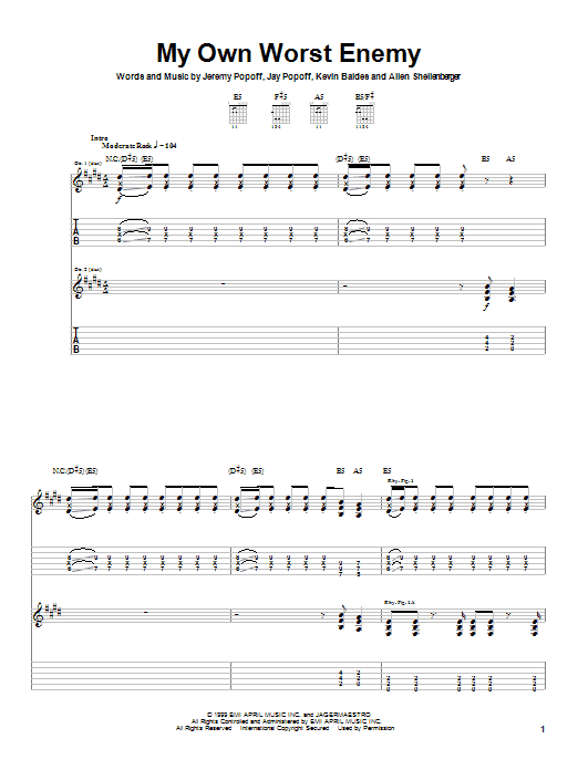 Tablature guitare My Own Worst Enemy de Lit - Tablature Guitare