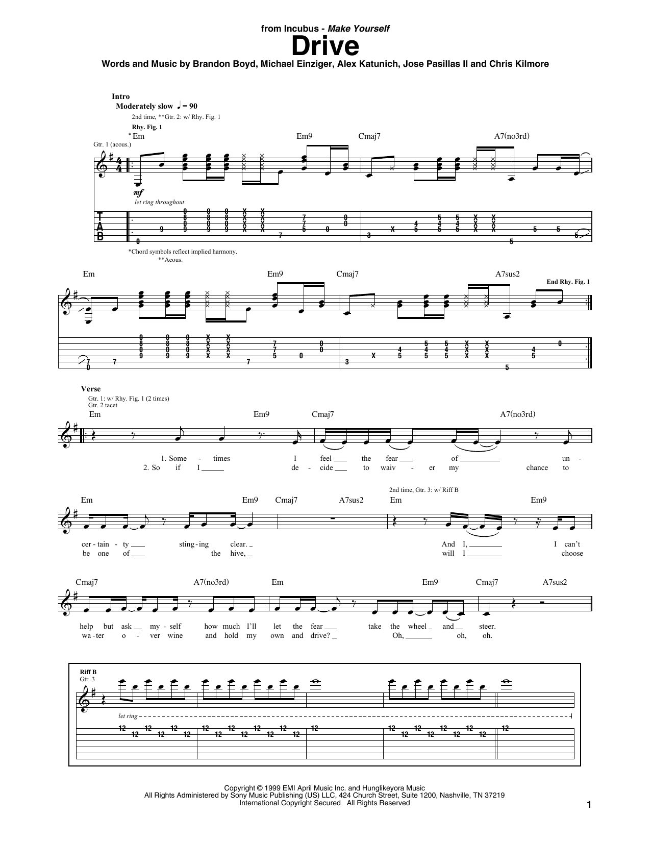 Tablature guitare Drive de Incubus - Tablature Guitare