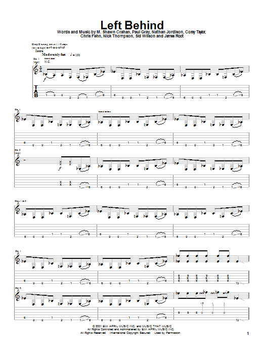 Tablature guitare Left Behind de Slipknot - Tablature Guitare