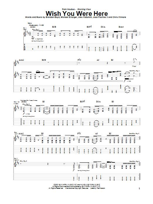 Tablature guitare Wish You Were Here de Incubus - Tablature Guitare