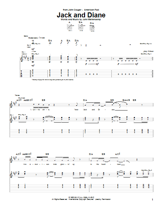 Tablature guitare Jack And Diane de John Cougar Mellencamp - Tablature Guitare