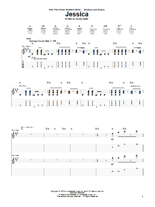Tablature guitare Jessica de The Allman Brothers Band - Tablature Guitare