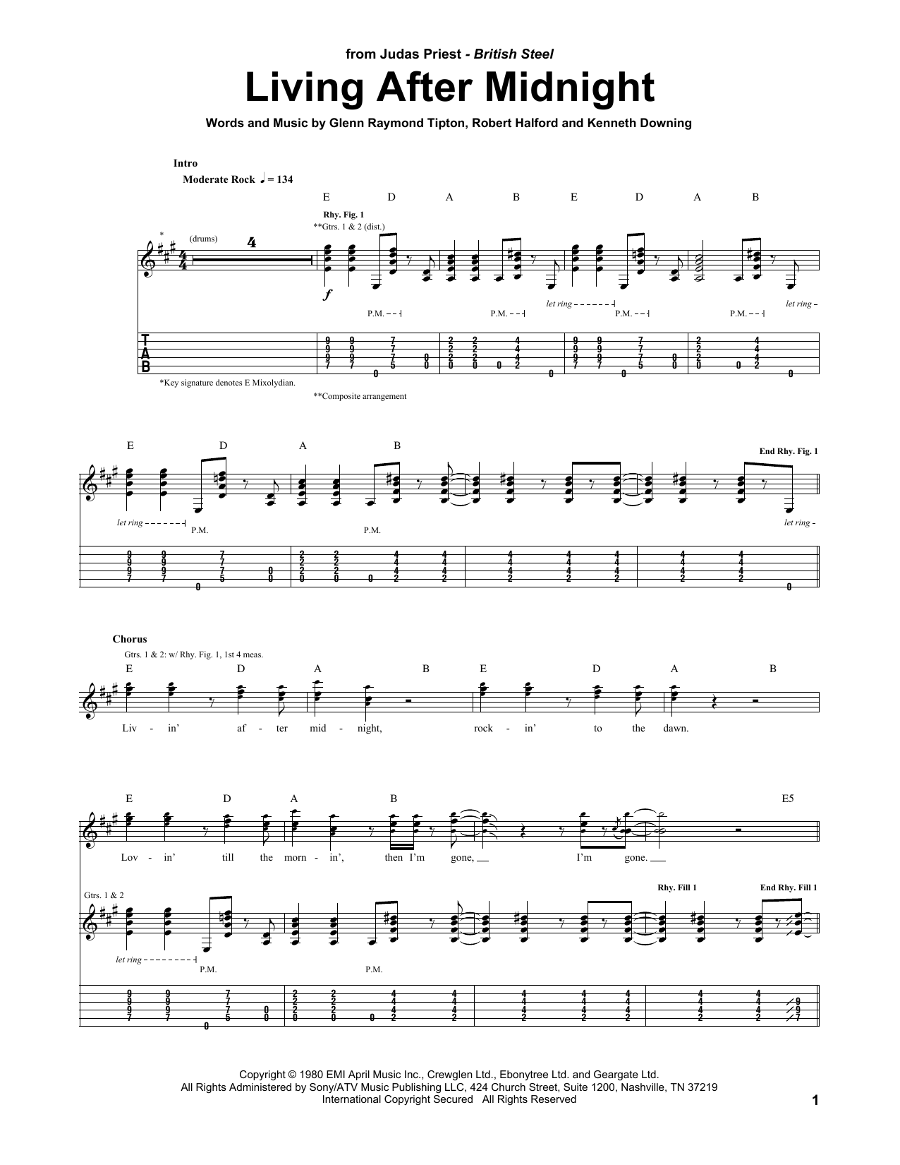 Living After Midnight sheet music for guitar solo (tablature) by Rob Halford