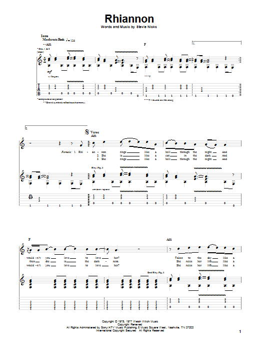 Tablature guitare Rhiannon de Fleetwood Mac - Tablature Guitare