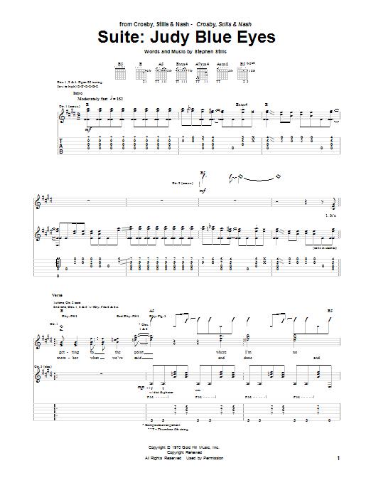 Tablature guitare Judy Blue Eyes de Suite - Tablature Guitare