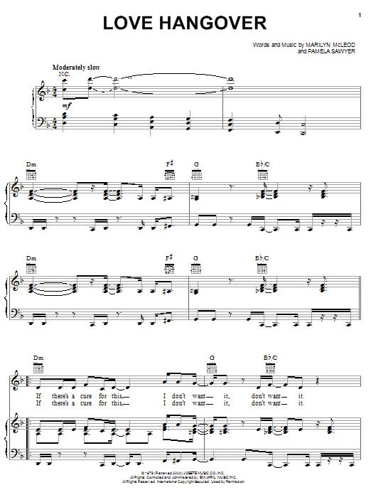 Partition piano Love Hangover de Diana Ross - Piano Voix Guitare (Mélodie Main Droite)
