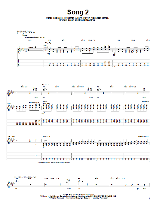 Tablature guitare Song 2 de Blur - Tablature Guitare