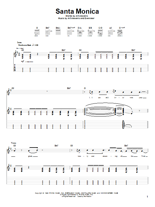 Santa Monica sheet music for guitar solo (tablature) by Art Alexakis