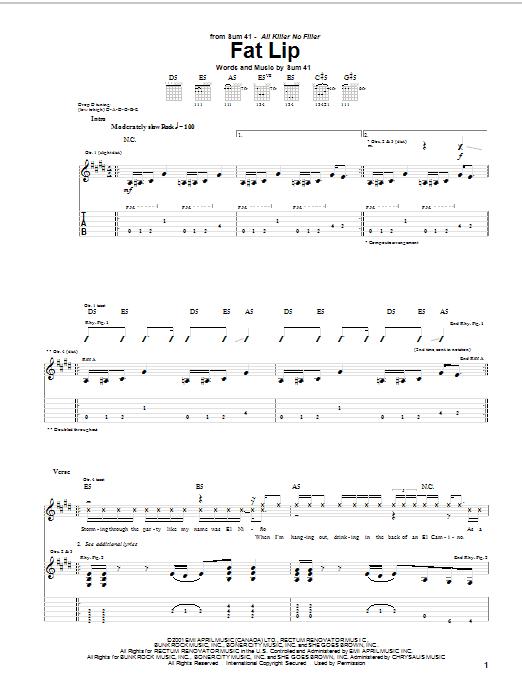 Tablature guitare Fat Lip de Sum 41 - Tablature Guitare