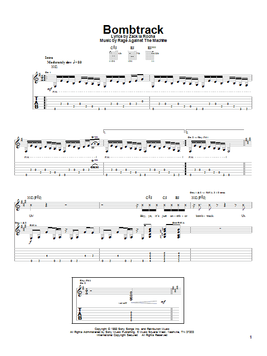 Bombtrack sheet music for guitar solo (tablature) by Rage Against The Machine