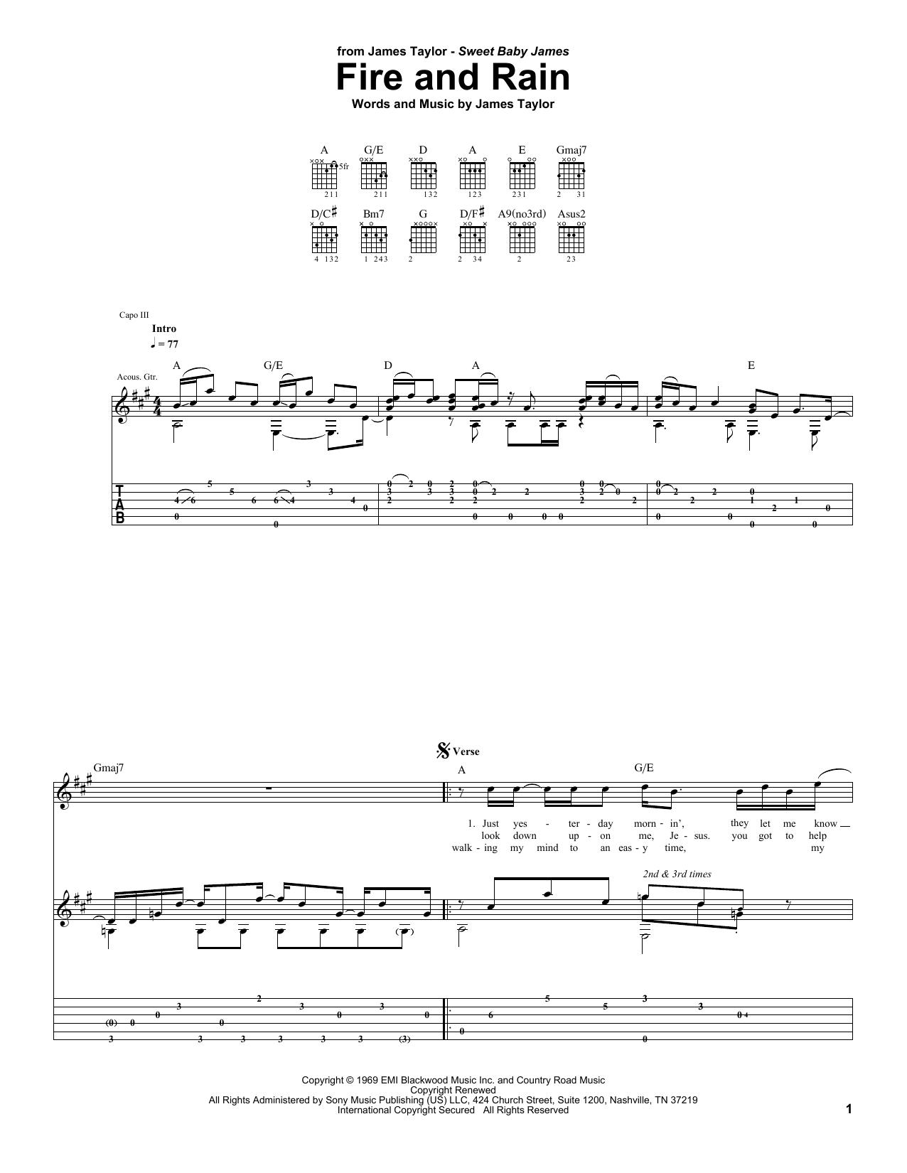 Tablature guitare Fire And Rain de James Taylor - Tablature Guitare