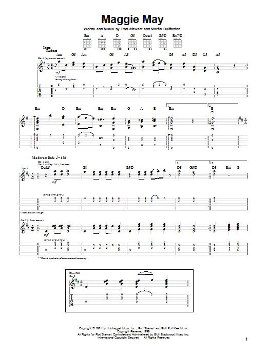 Tablature guitare Maggie May de Rod Stewart - Tablature Guitare