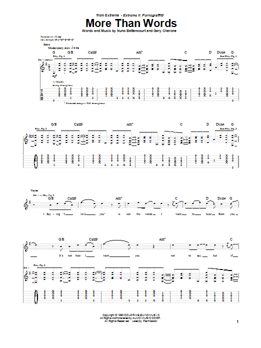 Tablature guitare More Than Words de Extreme - Tablature Guitare